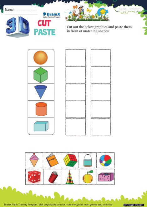 3 d cut paste math worksheet for grade 3 free printable worksheets