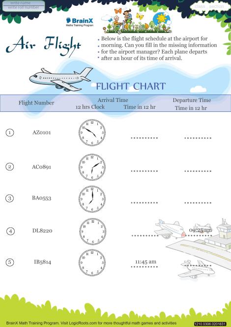 Air Flight Math Worksheet for Grade 3 | Free & Printable Worksheets