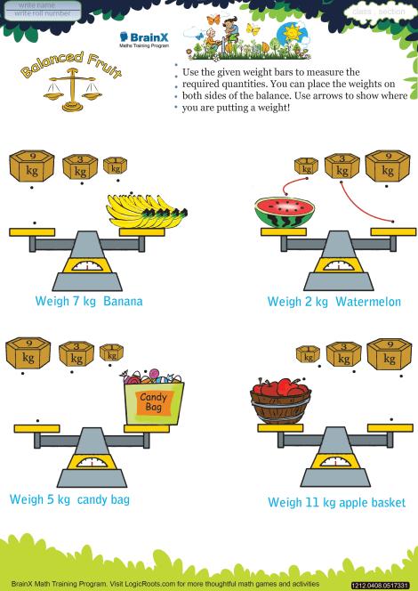Balanced Fruit worksheet