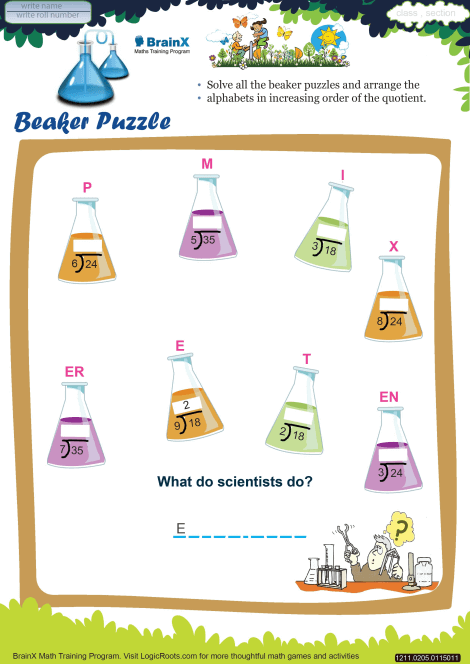 Beaker Puzzle worksheet
