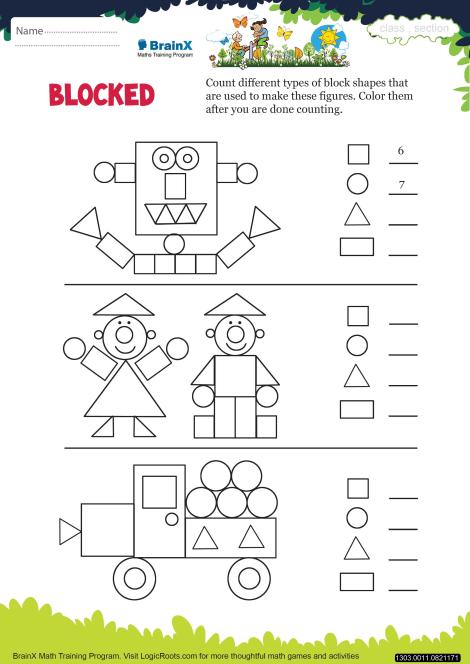 Blocked Math Worksheet for Kindergarten | Free & Printable Worksheets