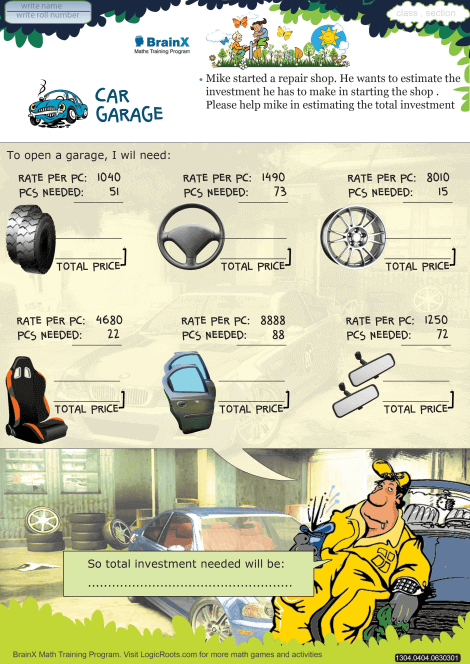 Car Garage worksheet