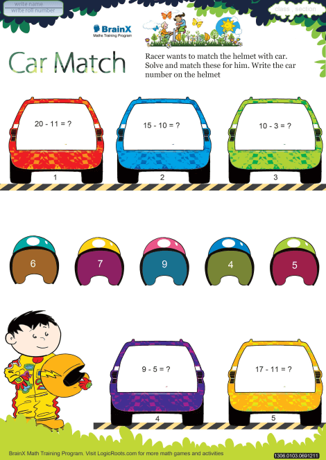 Carmatchicon on kindergarten math addition worksheets