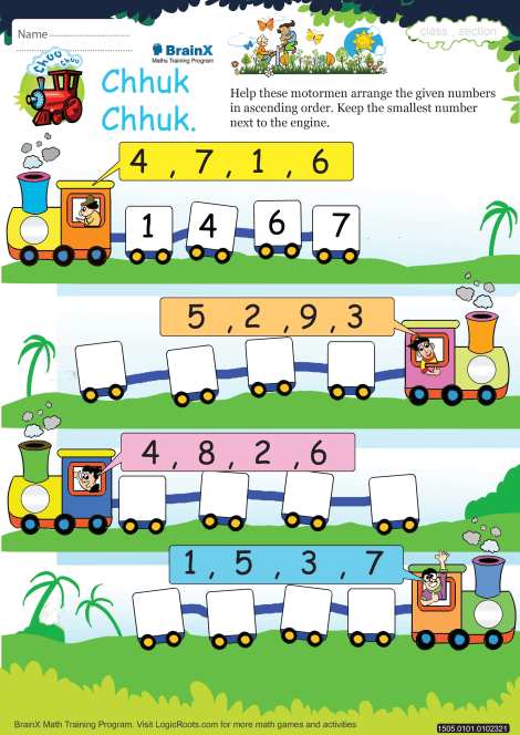 Chhuk Chhuk on Addition Activity Sheets