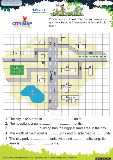 City Map Math Worksheet for Grade 3 | Free & Printable ...