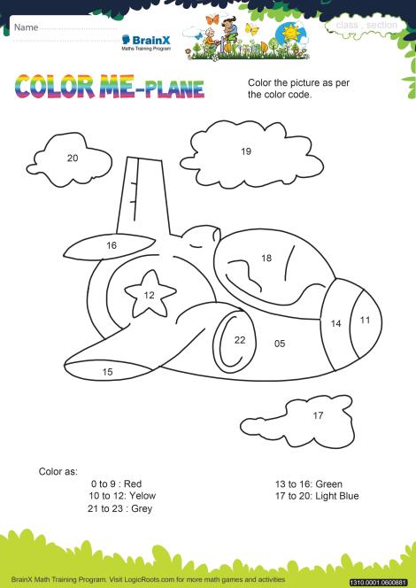 Color Me Plane Math Worksheet for Kindergarten | Free ...