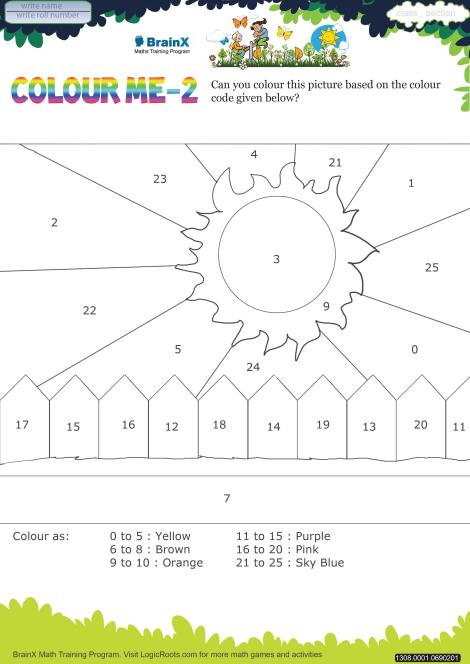 Colour Me 2 Math Worksheet For Kindergarten Free Printable