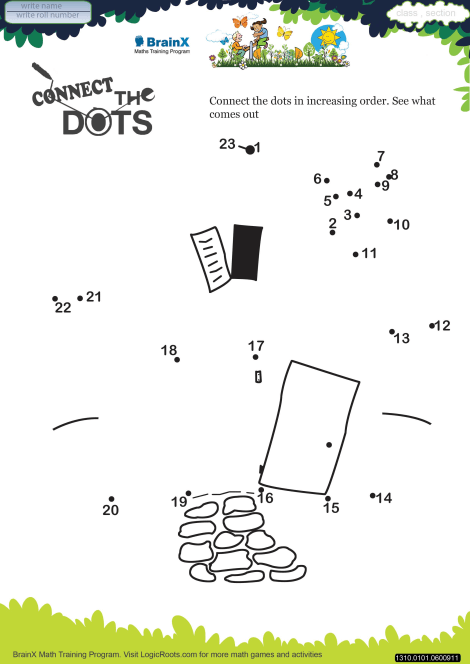 connect the dots hut math worksheet for grade   free  printable  connect the dots hut worksheet