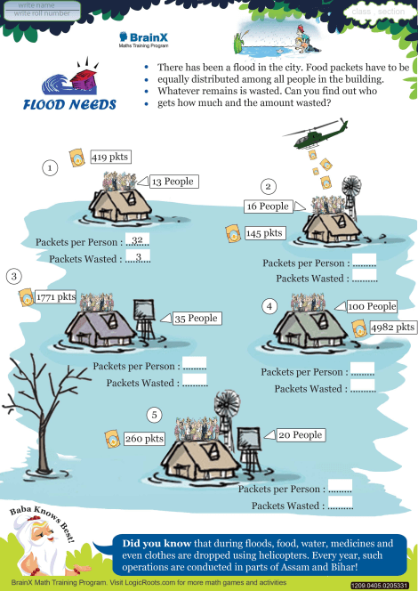 Flood Needs Math Worksheet For Grade 4 Free Amp Printable