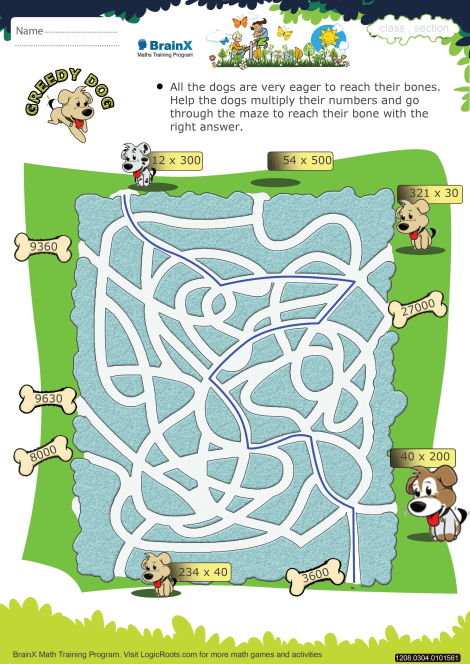 Greedy Dog Math Worksheet for Grade 3 | Free & Printable Worksheets