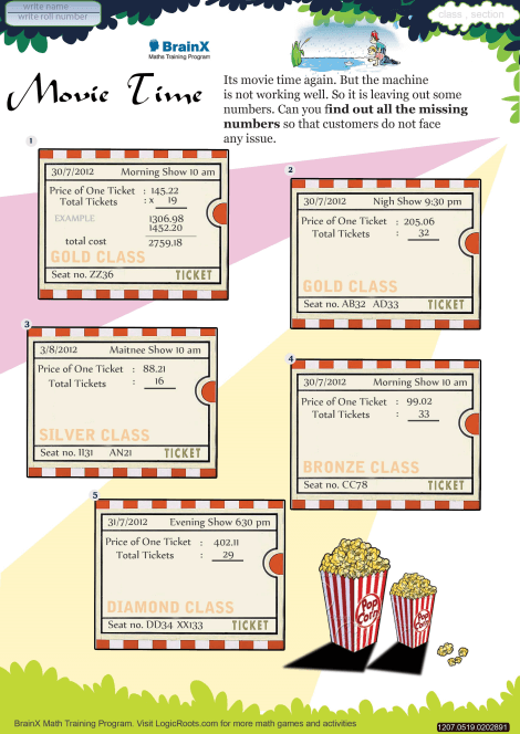 Movie Time worksheet