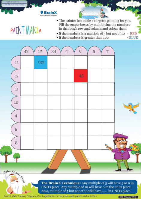 Paint Mania Math Worksheet for Grade 3 | Free & Printable ...