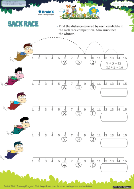 image regarding Printable Mathematics Worksheets for Grade 1 identified as Sack Race Math Worksheet for Quality 1 Free of charge Printable