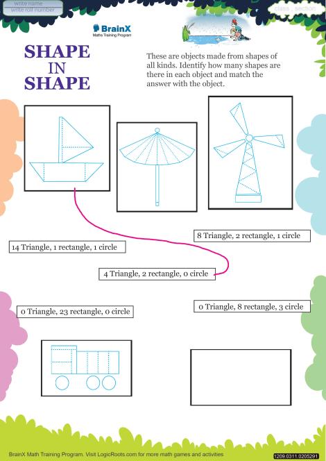 shape in shape math worksheet for grade   free  printable worksheets shape in shape worksheet