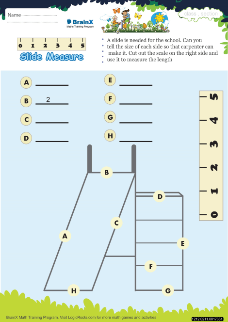 Slide Measure Math Worksheet for Grade 2 | Free & Printable ...