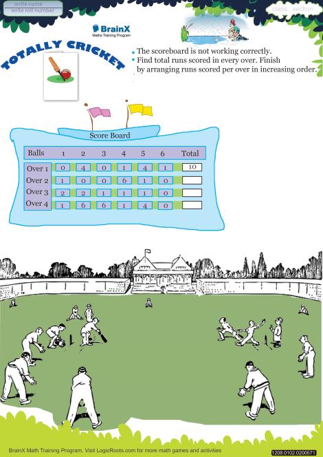 Totally Cricket Math Worksheet For Grade 1 Free Printable Worksheets