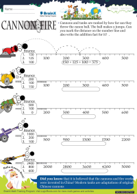 Addition worksheet - Cannon Fire