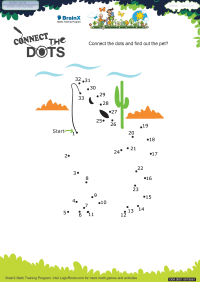 Numbers worksheet - Connect The Dots Dog