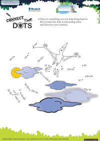 Subtraction worksheet - Connect The Dots Flying Dyna