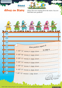 Subtraction worksheet - Elves On Stairs