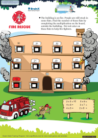 Multiplication worksheet - Fire Rescue