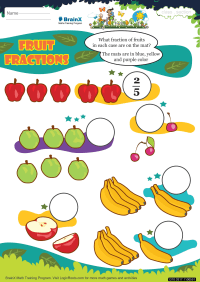 Fractions worksheet - Fruit Fractions