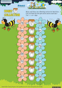 Numbers worksheet - Honey Collection