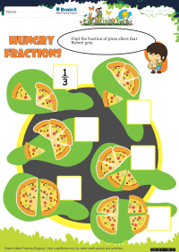 Fractions worksheet - Hungry Fractions