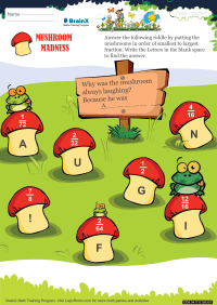 Fractions worksheet - Mushroom madness