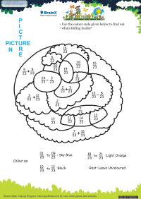 Fractions worksheet - Picture In Picture Sheep
