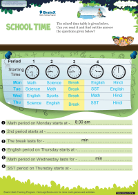 Time worksheet - School Time