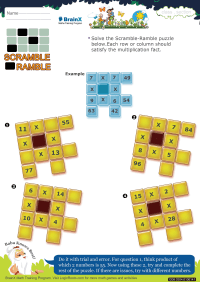 Multiplication worksheet - Scramble Ramble