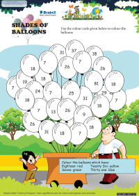 Numbers worksheet - Shades Of Balloons