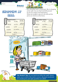 Multiplication worksheet - Shopping At Mall