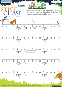 Addition worksheet - Stick Chase