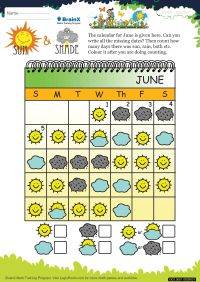 Numbers worksheet - Sun And Shade