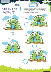 Fractions worksheet - The Pretty Peacock