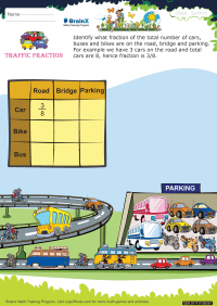 Fractions worksheet - Traffic Fraction