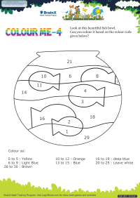 Colour Me 4 worksheet