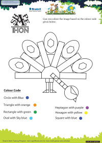 Shapethon Peacock Large worksheet
