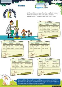 Speed Height worksheet